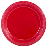 "JAM Paper® Medium Round Plastic 9"" Plates, Red, 20/Pack"