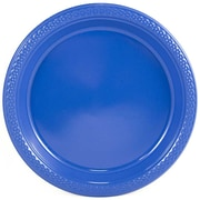 "JAM Paper® Medium Round Plastic 9"" Plates, Blue, 20/Pack"
