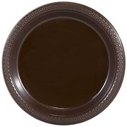 """JAM Paper® Small Round Plastic 7"""" Plates, Chocolate Brown, 20/Pack"""