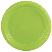 "JAM Paper® Medium Round Plastic 9"" Plates, Lime Green, 20/Pack"