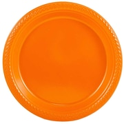 "JAM Paper® Medium Round Plastic 9"" Plates, Orange, 20/Pack"