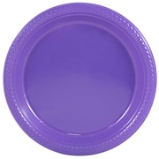 "JAM Paper® Small Round Plastic 7"" Plates, Purple, 20/Pack"