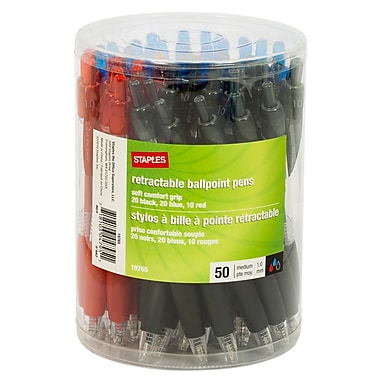 Staples Comfort Clicker Pens, Assorted Colours, 1800/Pack