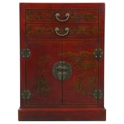EXP D cor Red Bonded Leather Storage Cabinet