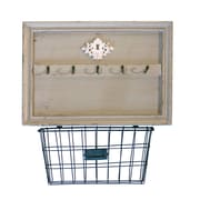 American Mercantile Wood Wall 5 Hook Rack w/ Metal Basket