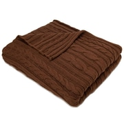 In2Green Organic Fisherman Cable Cotton Throw Blanket; Chocolate
