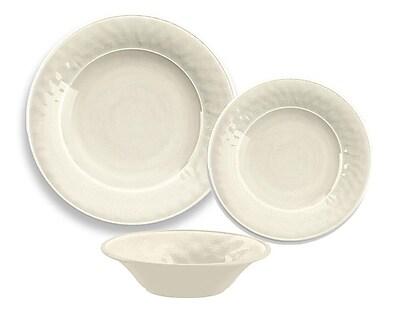 TarHong Glazed Crackle Melamine 12 Piece Dinnerware Set; Cream