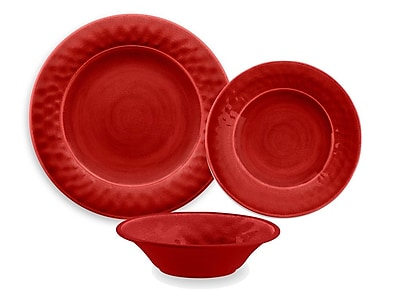 TarHong Glazed Crackle Melamine 12 Piece Dinnerware Set; Red