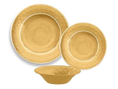 TarHong Glazed Crackle Melamine 12 Piece Dinnerware Set; Gold