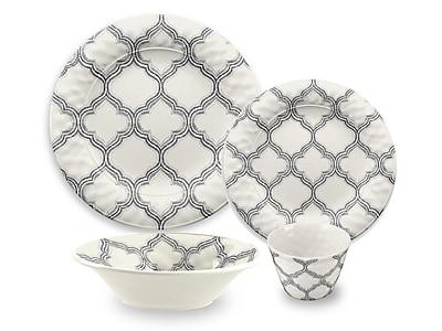 TarHong Ikat Arabesque Melamine 16 Piece Dinnerware Set