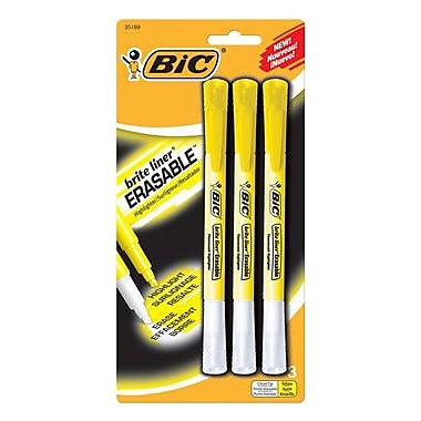 BIC® Brite Liner® Erasable Highlighters, Yellow, 3/Pack