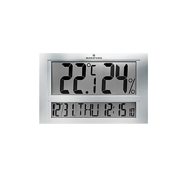Marathon Jumbo Indoor Digital Thermometer and Hygrometer, Includes Clock and Calendar