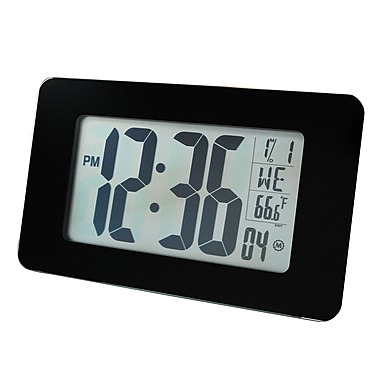 Marathon Atomic Self-setting, Self-adjusting Glass Panel Panoramic Clock, Black