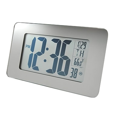 Marathon Atomic Self-setting, Self-adjusting Glass Panel Panoramic Clock, Mirror