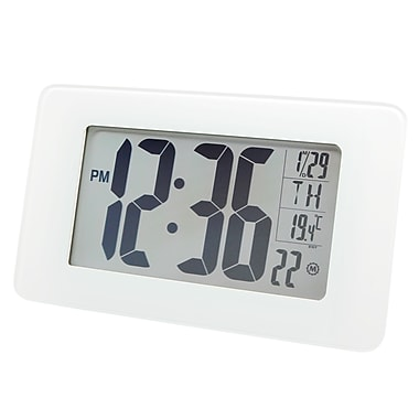Marathon Atomic Self-setting, Self-adjusting Glass Panel Panoramic Clock, White