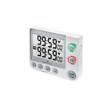 Marathon Dual Timer with Large Display, Magnetic Clip, White