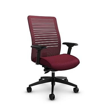 Global – Fauteuil Loover à basc. synchro à dossier moyen maillé ouvert couleur rose rouge, tissu bourgogne agencé, rouge
