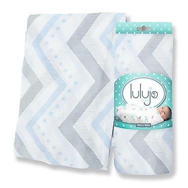 Lulujo Bamboo Swaddling Wrap, Blue Chevron