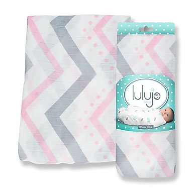 Lulujo Bamboo Swaddling Wrap, Pink Chevron