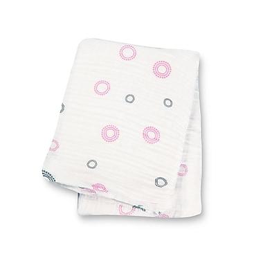 Lulujo Muslin Swaddling Blanket, Pink Circles