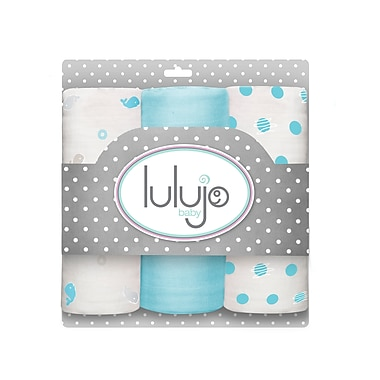 Lulujo Mini Muslin Cotton Cloths, Brilliant Blue