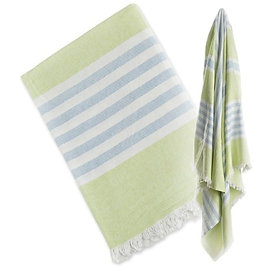 Lulujo Turkish Towel, Green & Aqua Blue