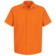 Red Kap  Men's Enhanced Visibility Work Shirt SS x XL, Fluorescent orange