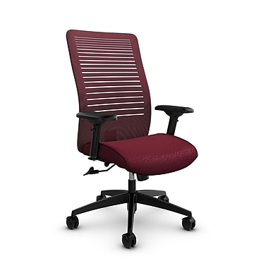 Global – Fauteuil Loover, doss. haut basc., tissus Match-Burgundy/mailles Vue-Red Rose, rouge