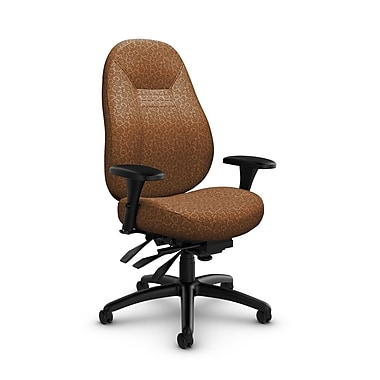 Global – Fauteuil ObusForme Comfort 24 heures, dossier mi-dos à basculements multiples, tissu « Oxygen-Nutmeg », brun clair