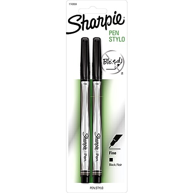 Sharpie® Pens, 0.8 mm Fine Tip, Black, 0.8 mm Black 2/Pack (1743412)