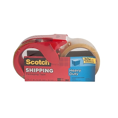 Scotch™ Heavy Duty Shipping Tape with Dispenser, Clear, 48 mm x 35 m, 2/Pack