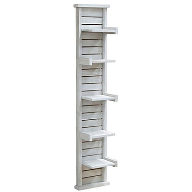 Cathay Importers White Wash Acacia Wood, 5-Tier Vertical Wall Shelf, 10