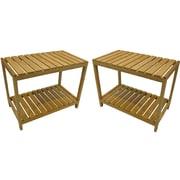 "Cathay Importers Bamboo Rectangular Storage Shelf, 23.5""W x 13.75""D x 19""H, 2-Piece Set"