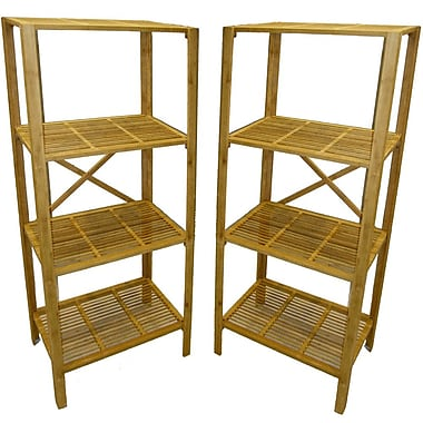 Cathay Importers Bamboo 4 Shelf Storage Tower, 23.5