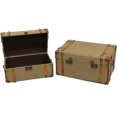 Cathay Importers Antique Linen Storage Trunk, 2-Piece Set