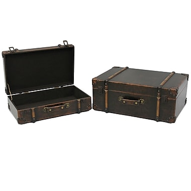 Cathay Importers Brown Faux Leather Storage Suitcase, 2-Piece Set