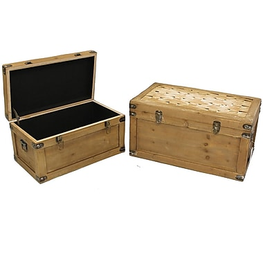 Cathay Importers Distressed Wash Wood Storage Trunk, 2-Piece Set