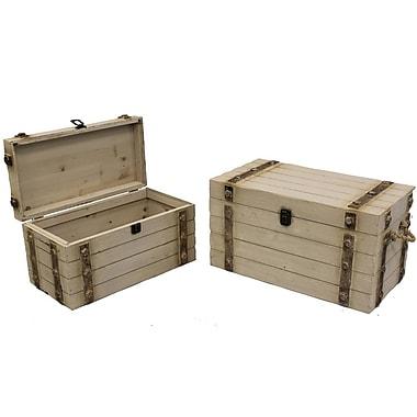 Cathay Importers White Wash Wood Storage Trunk, 2-Piece Set