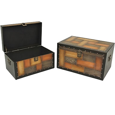 Cathay Importers Wood Veneer Storage Trunk, 2-Piece Set