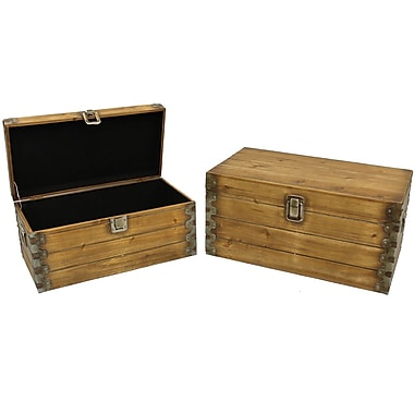 Cathay Importers Brown Stained Wood Storage Trunk, 2-Piece Set