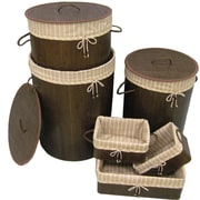 Cathay Importers Brown Bamboo Round Hamper and Rectangular Storage Baskets with Lining, 6-Piece Set