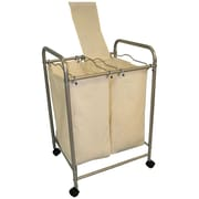 "Cathay Importers Double Laundry Sorter with 2 Removable Fabric Bags and 4 Wheels, 20""W x 17.5""D x 29""H"