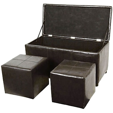 Cathay Importers Faux Leather Trunk and Ottoman Set, Espresso, 3-Piece Set