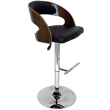 Cathay Importers Walnut Bentwood Faux Leather Swivel Counter/Bar Stool with Chrome Base, Black, 19