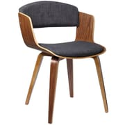 """Cathay Importers Walnut Veneer Bentwood Side Chair with Charcoal Black Fabric Cushions, 20""""W x 21.5""""D x 30""""H"""