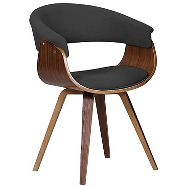 Cathay Importers Walnut Veneer Bentwood Arm Chair with Charcoal Black Fabric, 24