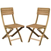 "Cathay Importers Acacia Wood Foldable Chair, 15""W x 22""D x 34""H, 2/Pack"