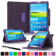 "rOOCASE Leather Dual-View Folio Smart Case Cover for 8.4"" Samsung Galaxy Tab S, Purple"