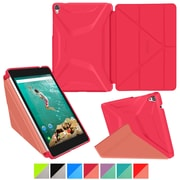 "rOOCASE Origami Polyurethane 3D Slim Shell Folio Smart Case Cover for 8.9"" Google Nexus 9, Persian Rose/Ruddy Pink"