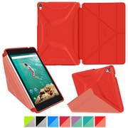 "rOOCASE Origami Polyurethane 3D Slim Shell Folio Smart Case Cover for 8.9"" Google Nexus 9, Testarossa Red/Ruddy Pink"